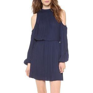 Pleated Cold Shoulder Dress